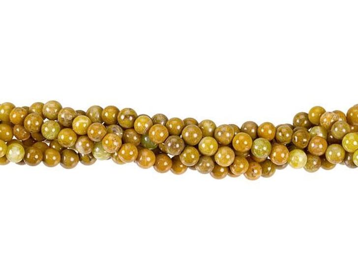Dakota Stones Golden Yellow Jasper 4mm Round Bead Strand