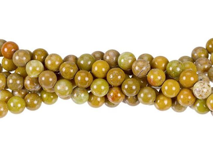 Dakota Stones Golden Yellow Jasper 6mm Round Bead Strand