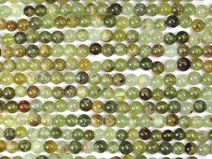 Dakota Stones Green Garnet 4mm Round Bead Strand