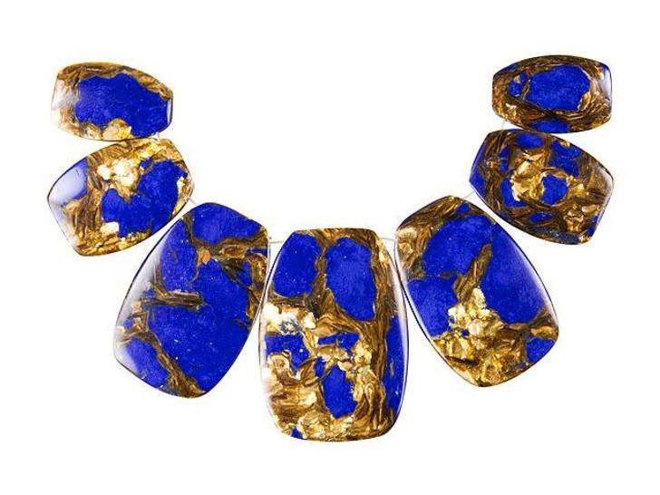 Dakota Stones Lapis and Bronzite Rectangle Pendant Set (7pc)