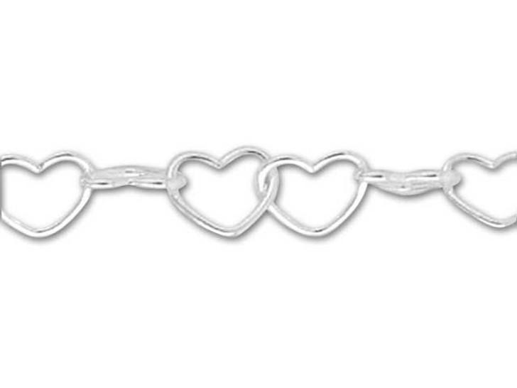 050 Sterling Silver Heart Chain by the Foot