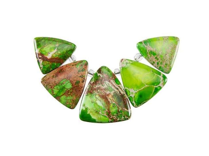 Dakota Stones Lime Green Impression Jasper Triangle Pendant Set (5pc)