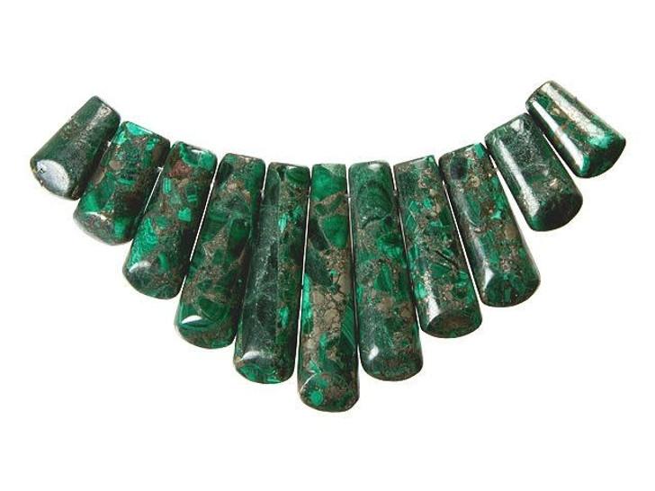 Dakota Stones Malachite and Pyrite 11-Piece Ladder Pendant Set