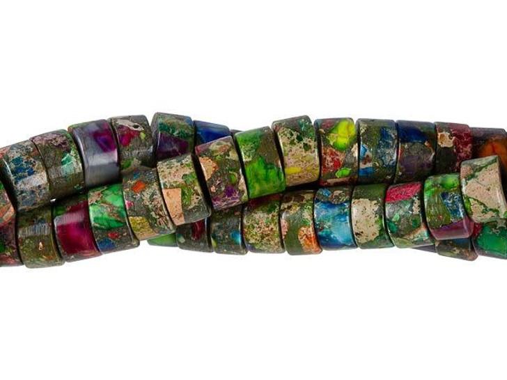 Dakota Stones Mardi Gras Impression Jasper 8mm Heishi Bead Strand