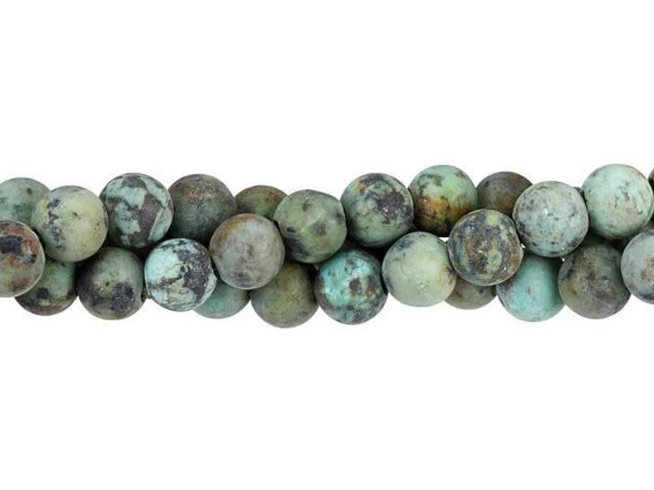 Dakota Stones Matte African Turquoise 8mm Large-Hole Round Bead Strand
