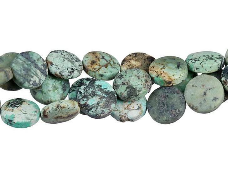 Dakota Stones Matte African Turquoise Jasper 12mm Coin Bead Strand