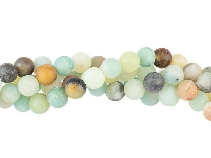 Dakota Stones Matte Black Gold Amazonite 6mm Round Bead Strand