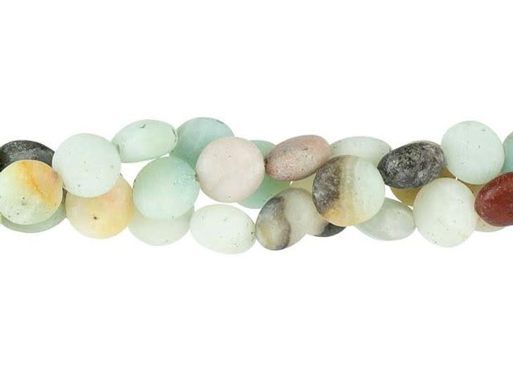 Dakota Stones Matte Black Gold Amazonite 8mm Puff Coin Bead Strand