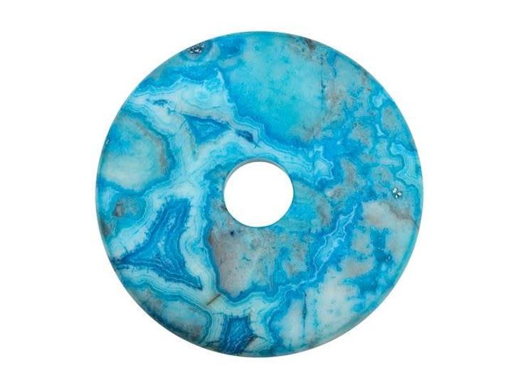 Dakota Stones Matte Blue Crazy Lace Agate 40mm Donut Pendant
