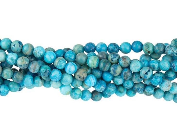 Dakota Stones Matte Blue Crazy Lace Agate 4mm Round Bead Strand