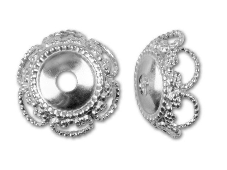 10mm Sterling Silver Lace Button Bead Cap