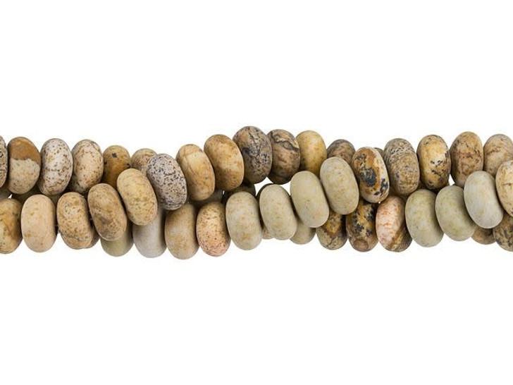Dakota Stones Matte Picture Jasper 8mm Large-Hole Roundel Bead Strand