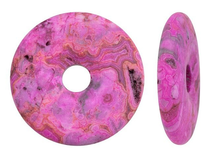Dakota Stones Matte Pink Crazy Lace Agate 40mm Donut Pendant