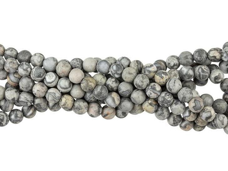 Dakota Stones Matte Silver Crazy Lace Agate 4mm Round Bead Strand