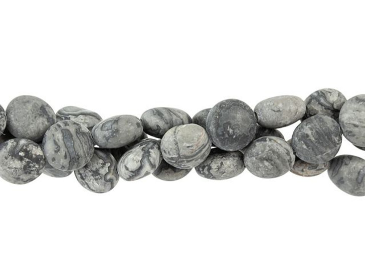 Dakota Stones Matte Silver Crazy Lace Agate 8mm Puff Coin Bead Strand