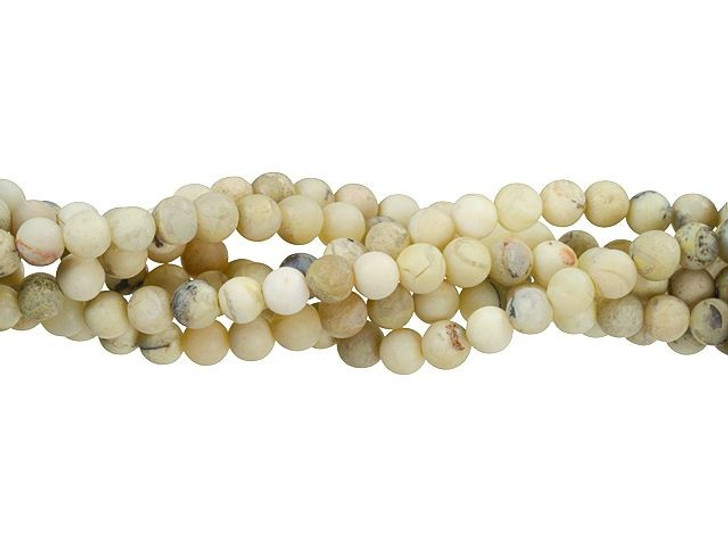 Dakota Stones Matte White African Opal 6mm Round Bead Strand