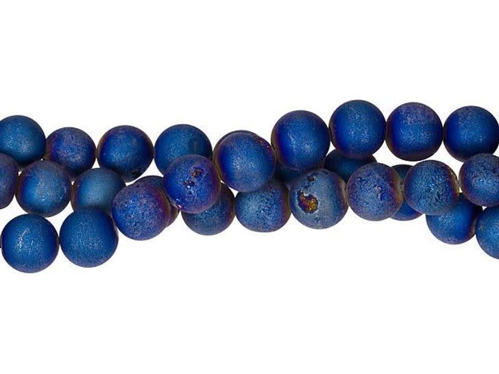 Dakota Stones Midnight Blue Druzy Agate 8mm Round Bead Strand