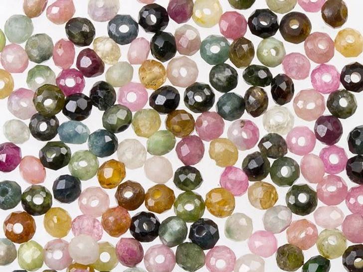 Dakota Stones Multi-Colored Tourmaline 3mm Faceted Rondelle Bead Strand