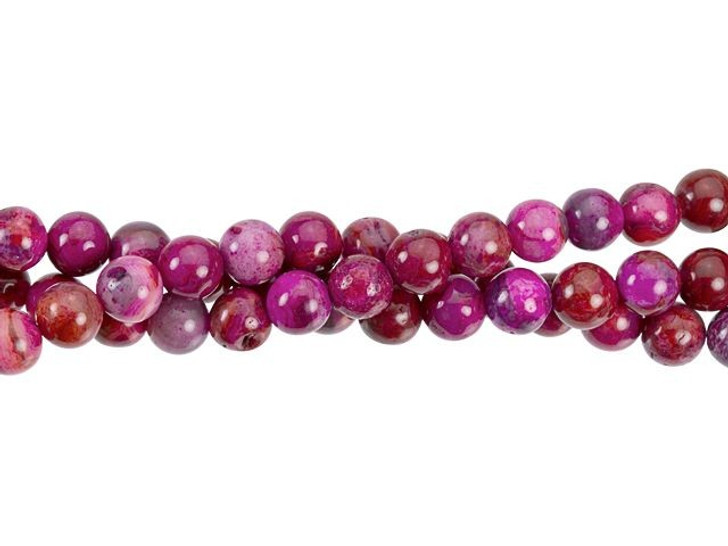Dakota Stones Pink Crazy Lace Agate 6mm Round Bead Strand