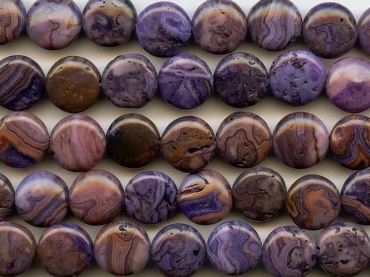 Dakota Stones Purple Crazy Lace Agate 12mm Coin Bead Strand