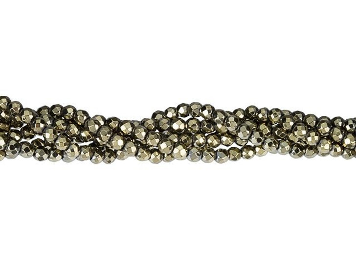 Dakota Stones Pyrite Color-Plated Hematite 3mm Faceted Round Bead Strand