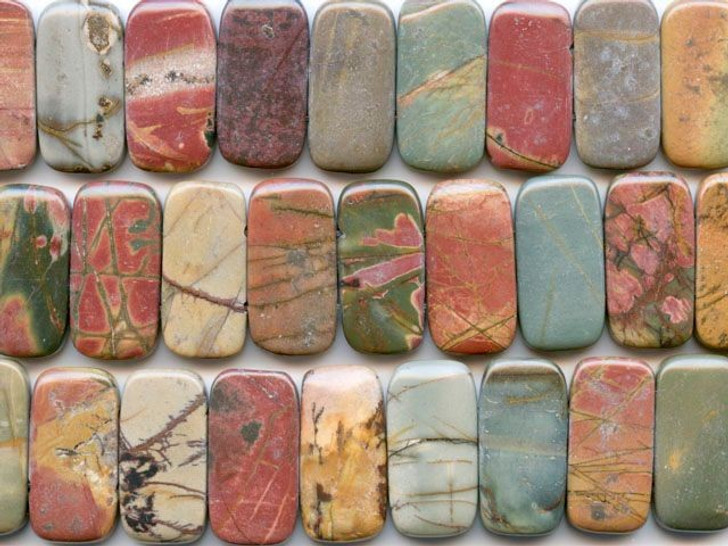 Dakota Stones Red Creek Jasper 10x20mm Double Drilled Rectangle Bead Strand