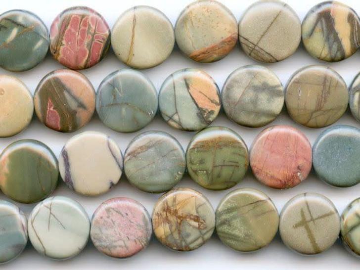 Dakota Stones Red Creek Jasper 12mm Coin Bead Strand