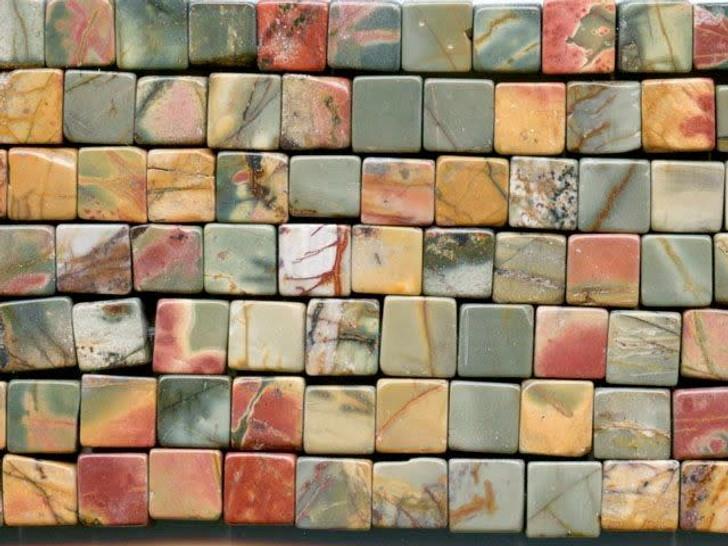 Dakota Stones Red Creek Jasper 6mm Cube Bead Strand
