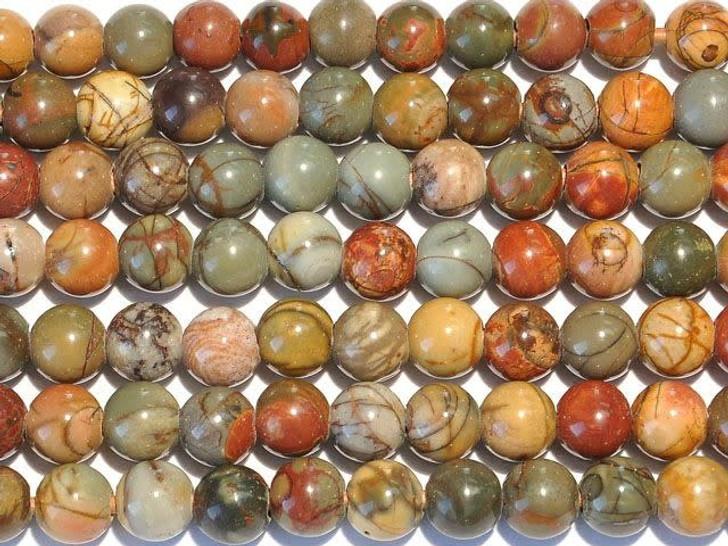 Dakota Stones Red Creek Jasper 8mm Large-Hole Round Bead Strand