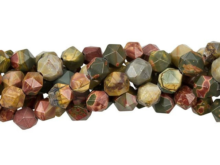 Dakota Stones Red Creek Jasper 8mm Star Cut Round Bead Strand