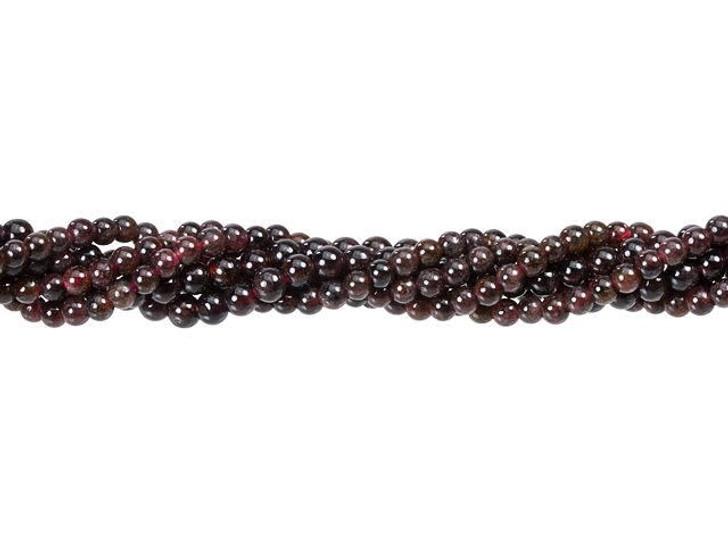 Dakota Stones Red Garnet 2.5-3.5mm Round Bead Strand