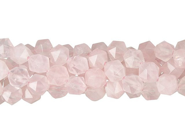 Dakota Stones Rose Quartz 8mm Star Cut Round Bead Strand