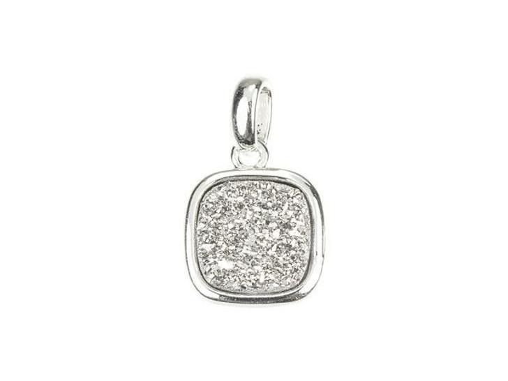 Dakota Stones Silver Druzy Silver-Plated Square Charm