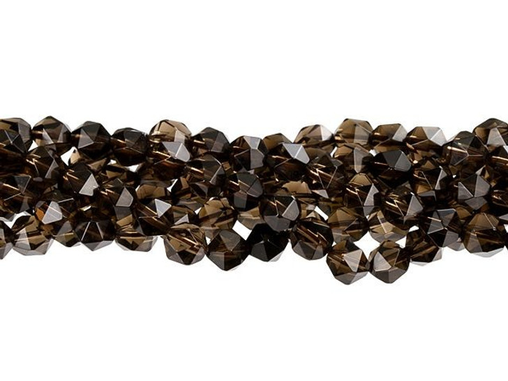 Dakota Stones Smoky Quartz 6mm Star Cut Round Bead Strand