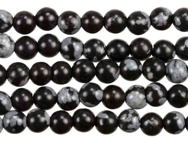 Dakota Stones Snowflake Obsidian 4mm Round Bead Strand