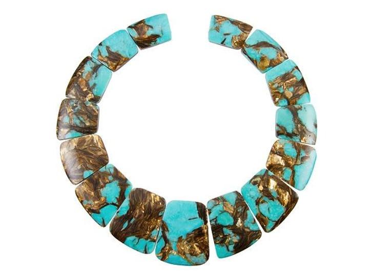 Dakota Stones Turquoise and Bronzite Graduated Collar