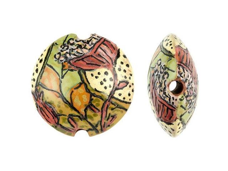 Damyanah Studio Earth Tone Floral Ceramic Lentil Bead