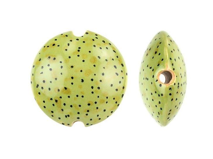 Damyanah Studio Green Speckled Ceramic Lentil Bead