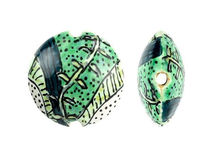 Damyanah Studio Green Vines Ceramic Lentil Bead