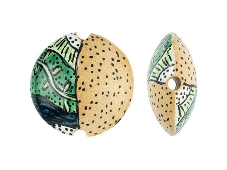 Damyanah Studio Green Vines on Tan Ceramic Lentil Bead