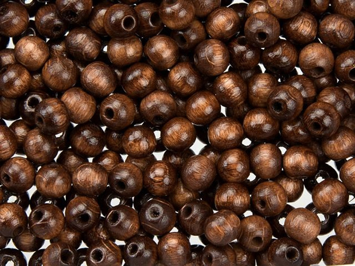 Dark Brown 6mm Round Euro Wood Beads