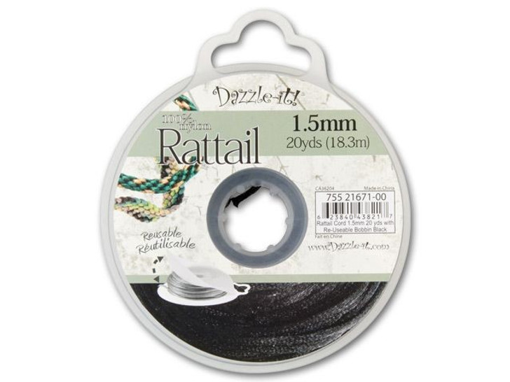 Dazzle It 1.5mm Black Satin Cord on Reusable Bobbin - 20 yards