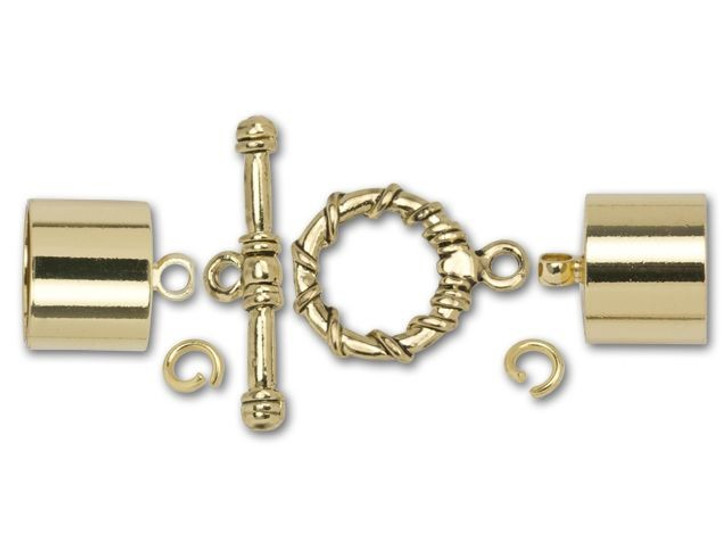 Dazzle It 12mm Gold-Plated Kumihimo End Cap and Toggle Kit
