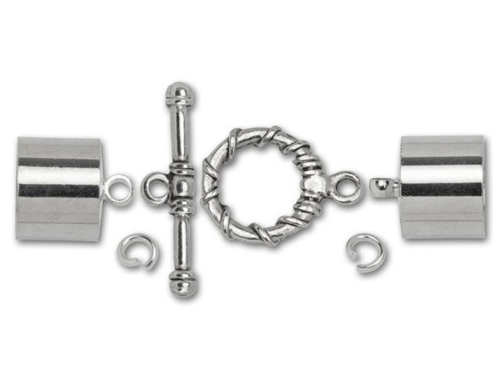 Dazzle It 12mm Silver-Plated Kumihimo End Cap and Toggle Kit
