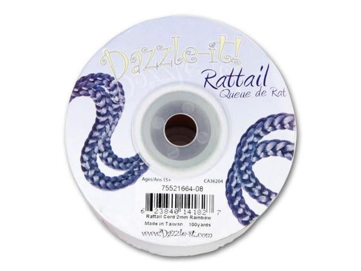Dazzle It 2mm Bright Rainbow Satin Cord - 100 yard Spool