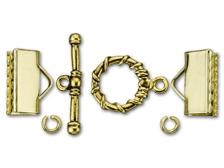 Dazzle It 7.75x16mm Gold-Plated Brass Kumihimo Ribbed Cord End and Toggle Kit
