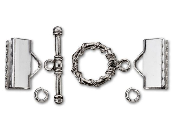 Dazzle It 7.75x16mm Silver-Plated Brass Kumihimo Ribbed Cord End and Toggle Kit