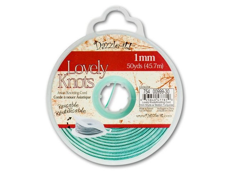 Dazzle It Lovely Knots 1mm Turquoise Chinese Knotting Cord - 50 yards