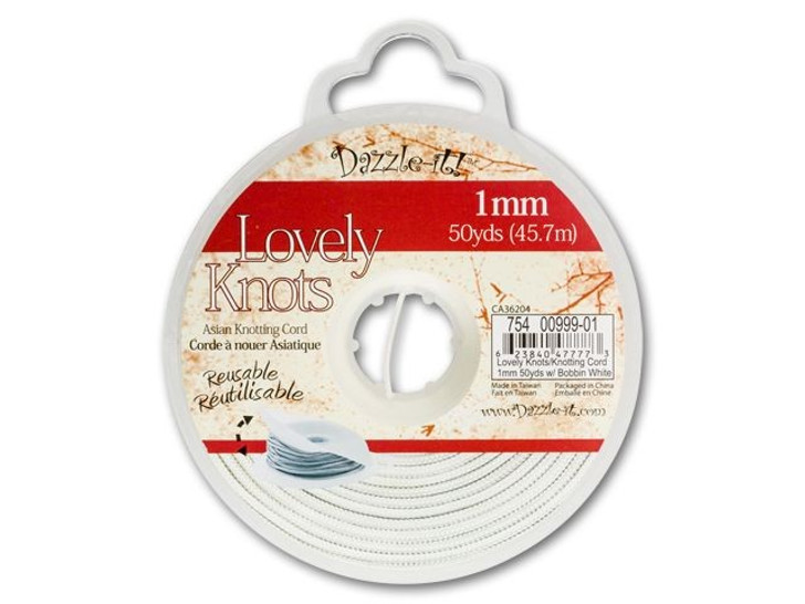 Dazzle It Lovely Knots 1mm White Chinese Knotting Cord - 50 yards