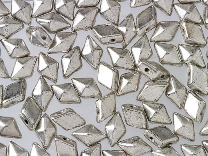 DiamonDuo 5x8mm Antique Silver Czech Glass 2-Hole Bead (10 gram pack)